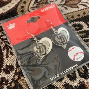 MLB San Diego Padres Heart Earrings